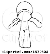 Sketch Design Mascot Man Looking Down Through Magnifying Glass
