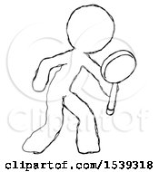 Sketch Design Mascot Man Inspecting With Large Magnifying Glass Right