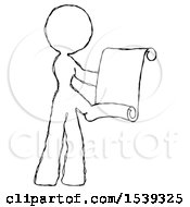 Sketch Design Mascot Woman Holding Blueprints Or Scroll