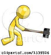 Yellow Design Mascot Man Hitting With Sledgehammer Or Smashing Something