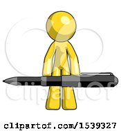 Yellow Design Mascot Man Weightlifting A Giant Pen