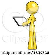 Yellow Design Mascot Woman Looking At Tablet Device Computer With Back To Viewer