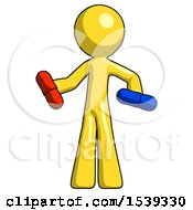 Yellow Design Mascot Man Red Pill Or Blue Pill Concept