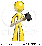 Yellow Design Mascot Woman With Sledgehammer Standing Ready To Work Or Defend