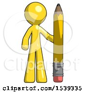 Yellow Design Mascot Man With Large Pencil Standing Ready To Write