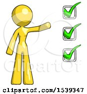 Yellow Design Mascot Woman Standing By A Checkmark List Arm Extended