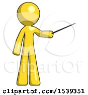 Yellow Design Mascot Man Teacher Or Conductor With Stick Or Baton Directing