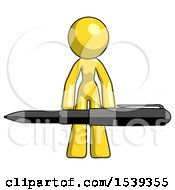 Yellow Design Mascot Woman Lifting A Giant Pen Like Weights