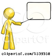 Yellow Design Mascot Woman Pointing At Dry Erase Board With Stick Giving Presentation