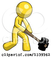 Yellow Design Mascot Man Hitting With Sledgehammer Or Smashing Something At Angle