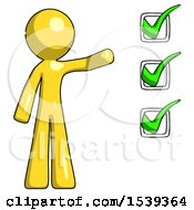 Yellow Design Mascot Man Standing By List Of Checkmarks