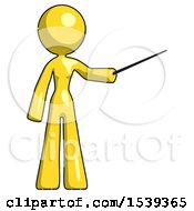 Yellow Design Mascot Woman Teacher Or Conductor With Stick Or Baton Directing