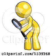 Yellow Design Mascot Man Inspecting With Large Magnifying Glass Left