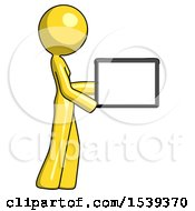 Yellow Design Mascot Woman Show Tablet Device Computer To Viewer Blank Area