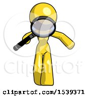 Yellow Design Mascot Woman Looking Down Through Magnifying Glass