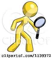 Yellow Design Mascot Woman Inspecting With Large Magnifying Glass Right