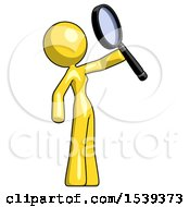 Yellow Design Mascot Woman Inspecting With Large Magnifying Glass Facing Up
