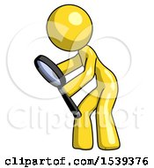 Yellow Design Mascot Woman Inspecting With Large Magnifying Glass Left