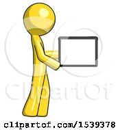 Yellow Design Mascot Man Show Tablet Device Computer To Viewer Blank Area