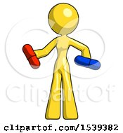 Yellow Design Mascot Woman Red Pill Or Blue Pill Concept