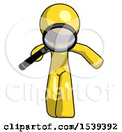 Yellow Design Mascot Man Looking Down Through Magnifying Glass
