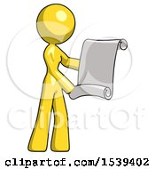 Yellow Design Mascot Woman Holding Blueprints Or Scroll