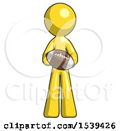 Yellow Design Mascot Man Giving Football To You