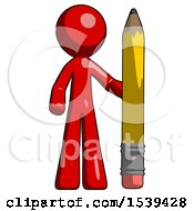 Red Design Mascot Man With Large Pencil Standing Ready To Write