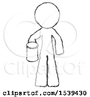 Sketch Design Mascot Man Begger Holding Can Begging Or Asking For Charity