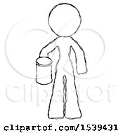 Sketch Design Mascot Woman Begger Holding Can Begging Or Asking For Charity