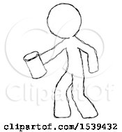 Sketch Design Mascot Man Begger Holding Can Begging Or Asking For Charity Facing Left