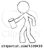 Sketch Design Mascot Woman Begger Holding Can Begging Or Asking For Charity Facing Left