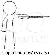 Sketch Design Mascot Man Standing With Ninja Sword Katana Pointing Right