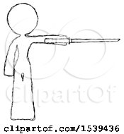 Sketch Design Mascot Woman Standing With Ninja Sword Katana Pointing Right