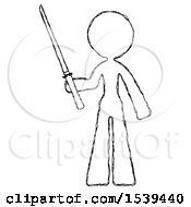 Sketch Design Mascot Woman Standing Up With Ninja Sword Katana