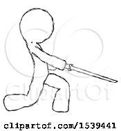 Sketch Design Mascot Man With Ninja Sword Katana Slicing Or Striking Something