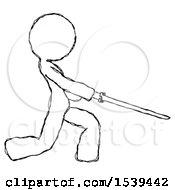 Sketch Design Mascot Woman With Ninja Sword Katana Slicing Or Striking Something