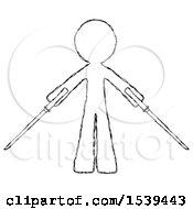 Sketch Design Mascot Man Posing With Two Ninja Sword Katanas