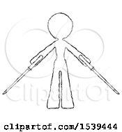 Sketch Design Mascot Woman Posing With Two Ninja Sword Katanas