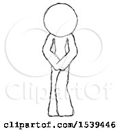 Sketch Design Mascot Female Bending Over Sick Or In Pain