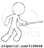 Sketch Design Mascot Man Stabbing With Ninja Sword Katana