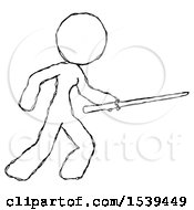 Sketch Design Mascot Woman Stabbing With Ninja Sword Katana