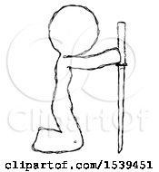 Sketch Design Mascot Woman Kneeling With Ninja Sword Katana Showing Respect