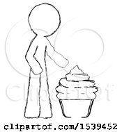 Sketch Design Mascot Man With Giant Cupcake Dessert