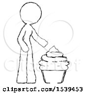 Sketch Design Mascot Woman With Giant Cupcake Dessert
