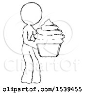 Sketch Design Mascot Woman Holding Large Cupcake Ready To Eat Or Serve