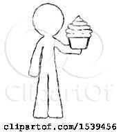 Sketch Design Mascot Man Presenting Pink Cupcake To Viewer