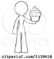 Sketch Design Mascot Woman Presenting Pink Cupcake To Viewer