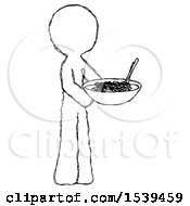 Sketch Design Mascot Man Holding Noodles Offering To Viewer