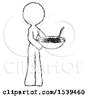 Sketch Design Mascot Woman Holding Noodles Offering To Viewer